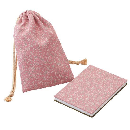 御朱印帳 巾着袋付 一越両面 色:ピンク・利休